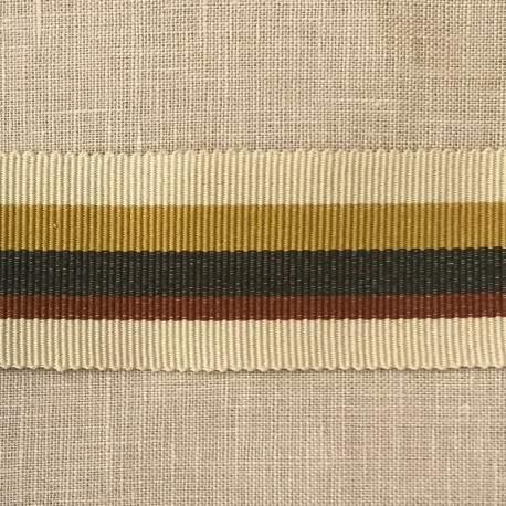 Striped Gros Grain Bayadère Ribbon Panama, col. Muesli, Mustard, Carbon, Amber