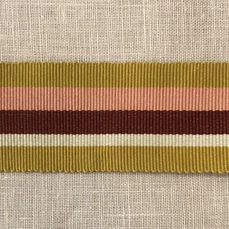 Striped Gros Grain Bayadère Ribbon Panama, col. Mustard, Fadded Rose, Strawberry, Muesli 560