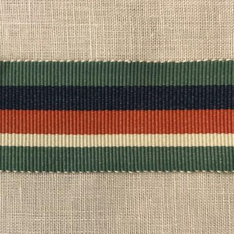 Striped Gros Grain Bayadère Ribbon Panama, col. Veronese, Sapphir, Coral, Muesli 436